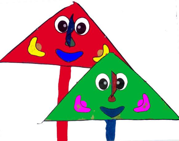 三角形的风筝绘画儿童